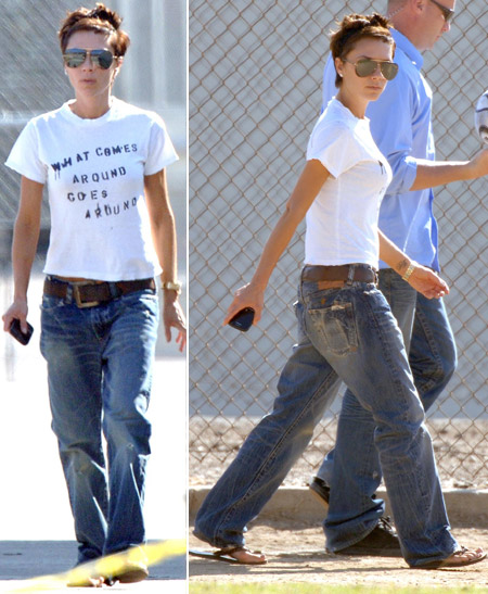 Victoria Beckham with jeans and flip flops