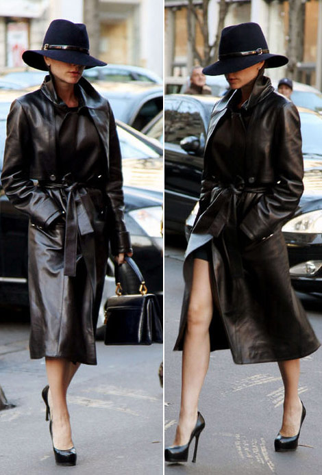 Victoria Beckham Leather detective look