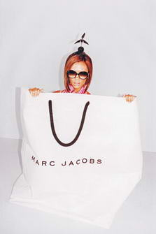 Victoria Beckham for Marc Jacobs Shopping Bag and her head with sunglasses