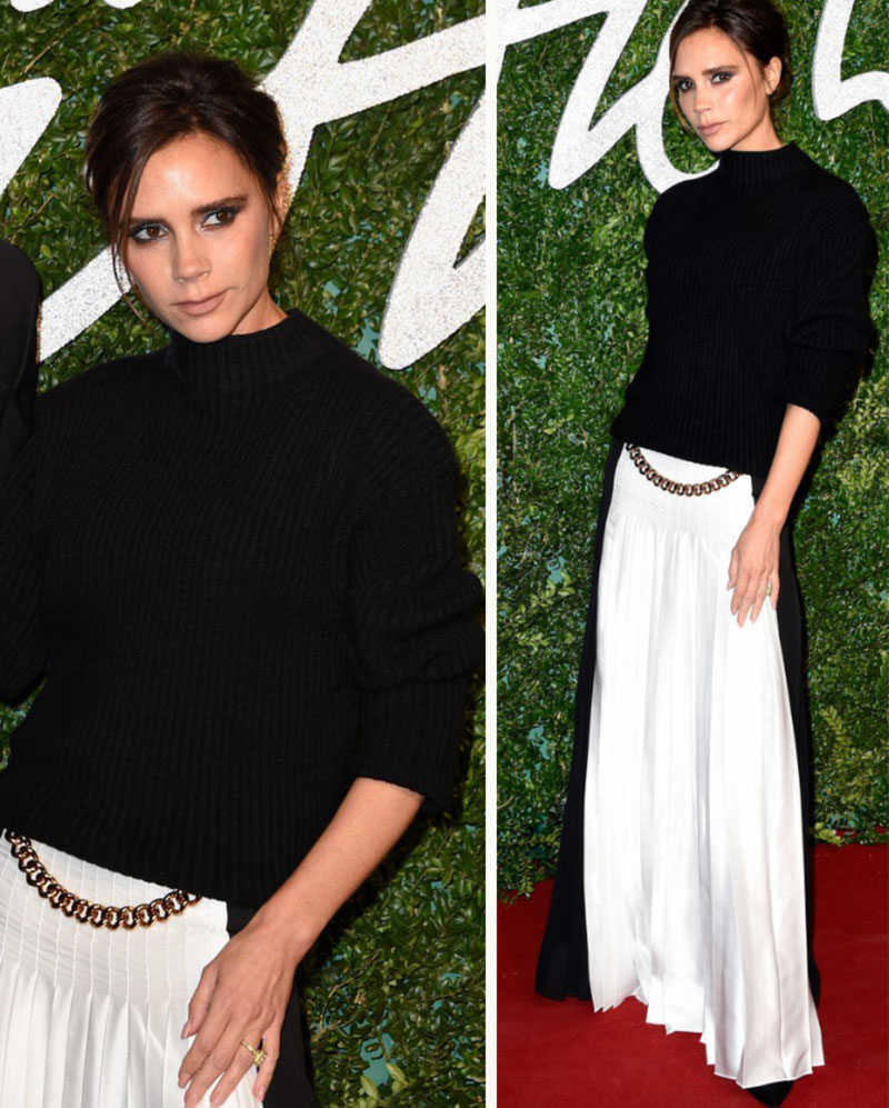 Victoria Beckham pleated maxi skirt black sweater
