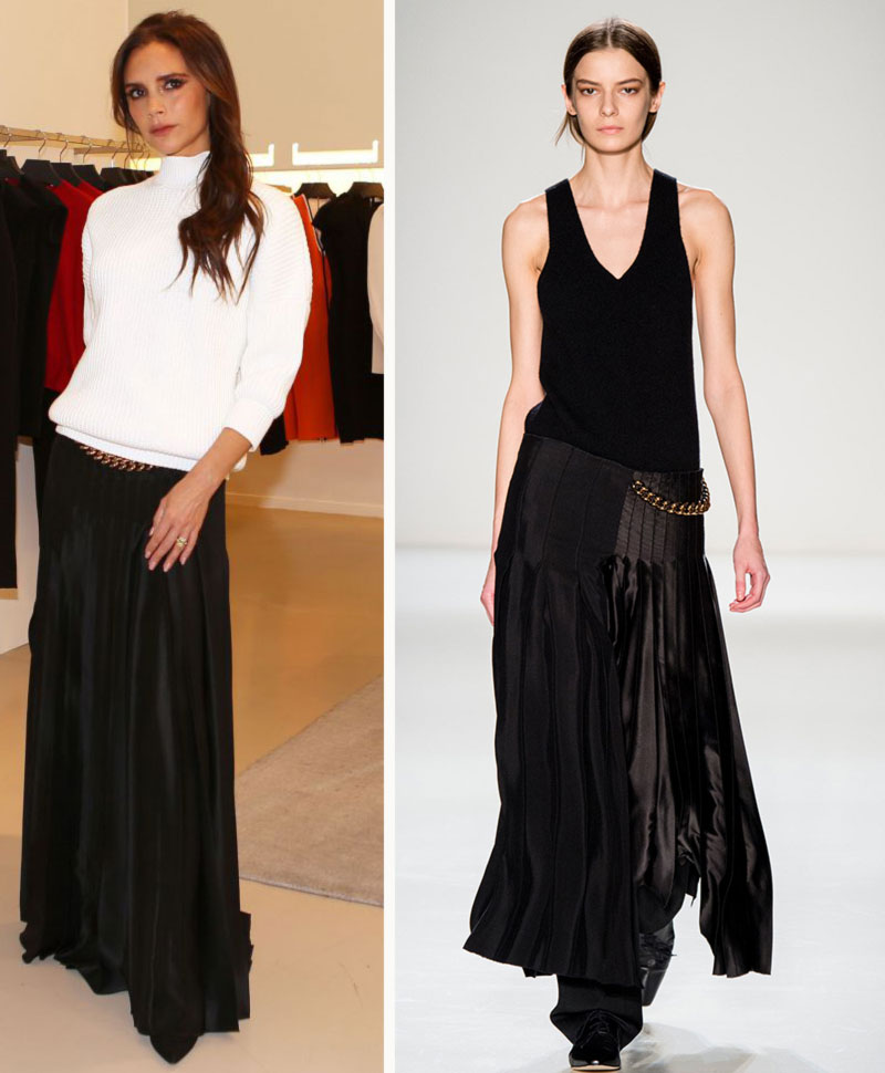 Victoria Beckham pleated maxi skirt turtleneck sweater