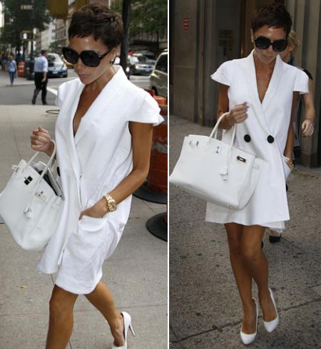 Victoria Beckham Short Haircut white dress (photos via justjared, dailymail)