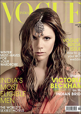 Victoria Beckham Covers Vogue India In November 2008