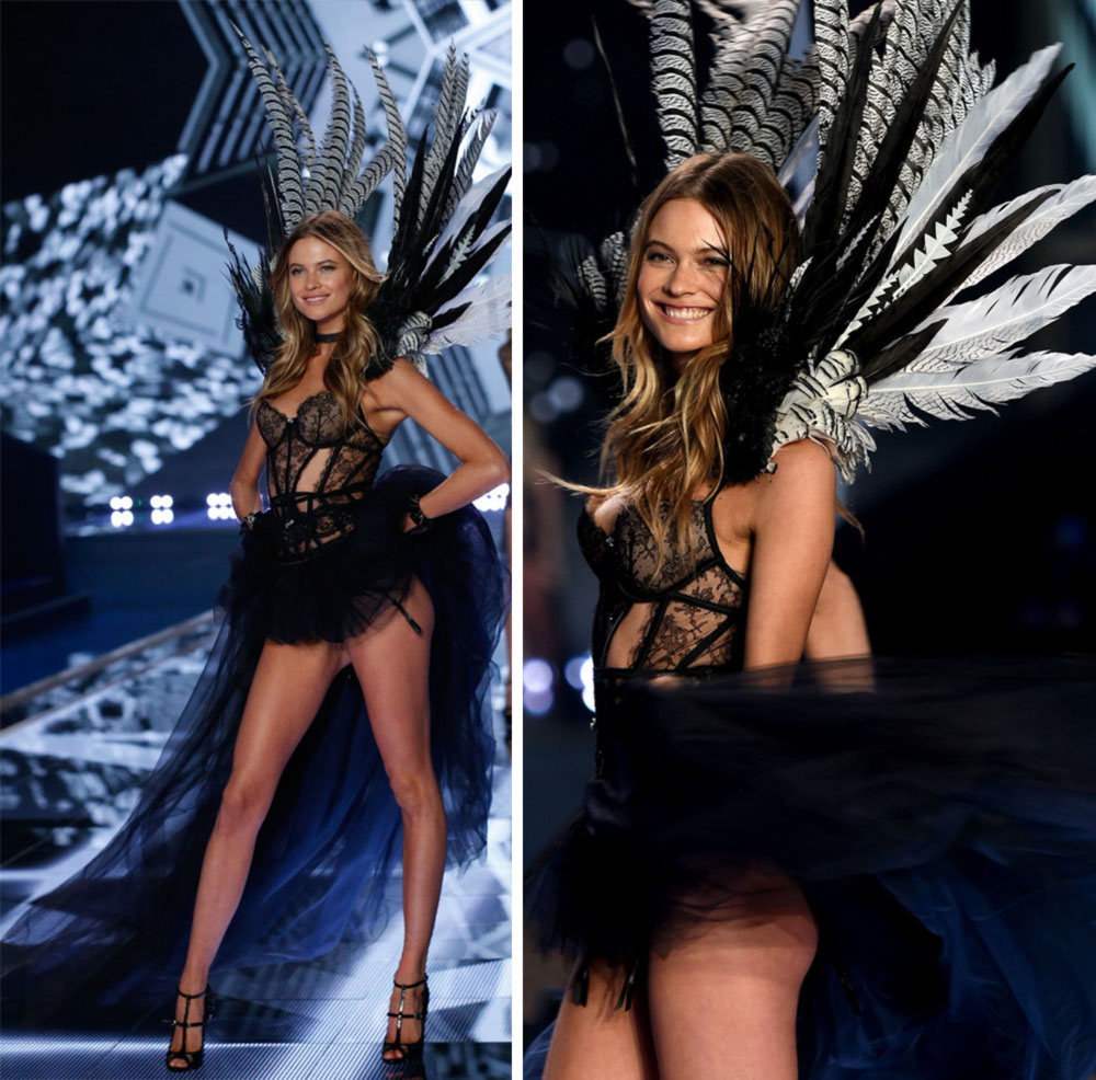 Victoria s Secret 2014 Fashion Show Behati Prinsloo feathered  wings