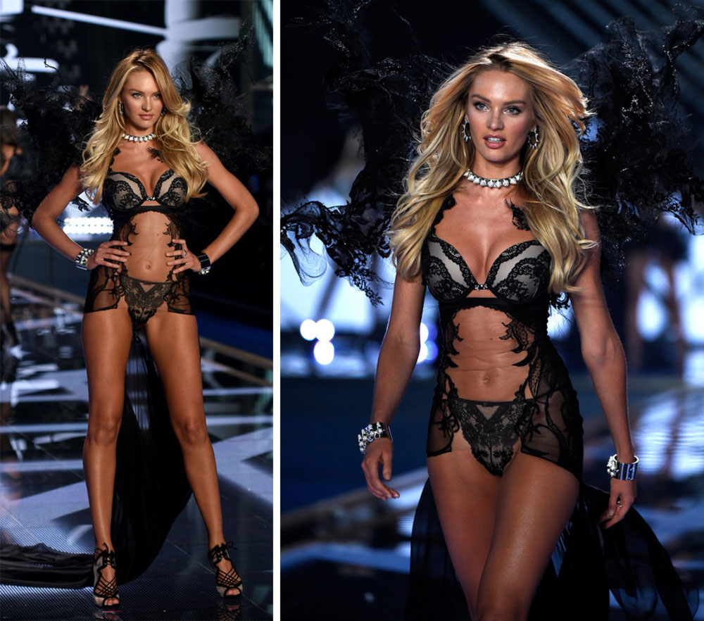 Victoria s Secret 2014 Fashion Show Candice Swanepoel black wings