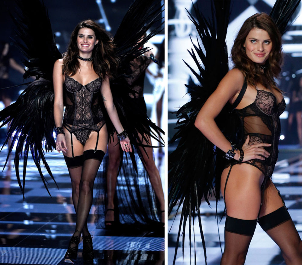 Victoria s Secret 2014 Fashion Show Isabeli Fontana black wings