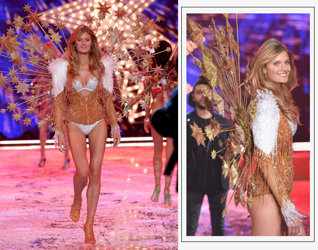 Victorias Secret 2015 fashion show Constance Jablonski gold wings