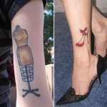 Vintage mannequin red shoes tattoo