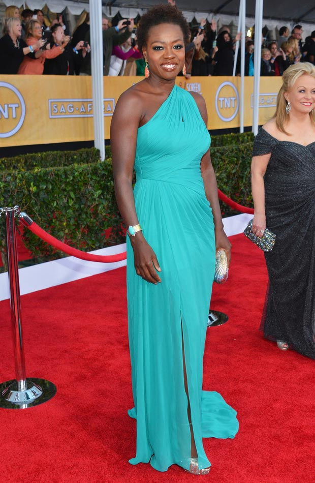 Viola Davis Teal Dress 2017 Sag Awards