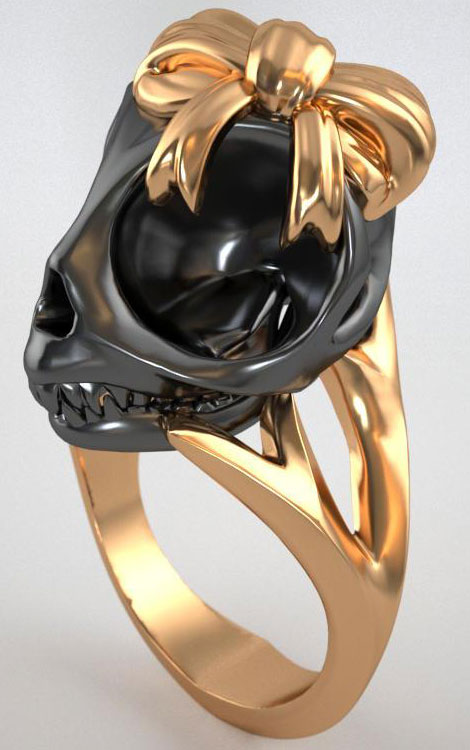 Violet Darkling black skull ring bow