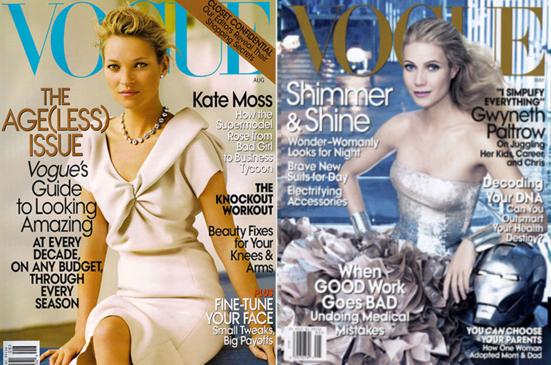 Vogue 2008 covers Kate Moss Gwyneth Paltrow