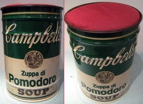 Warhol's Campbell Soup Can. Stool.