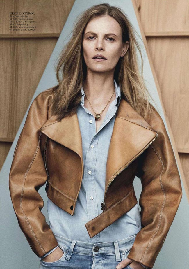 washed out denim leather jacket Vogue Australia