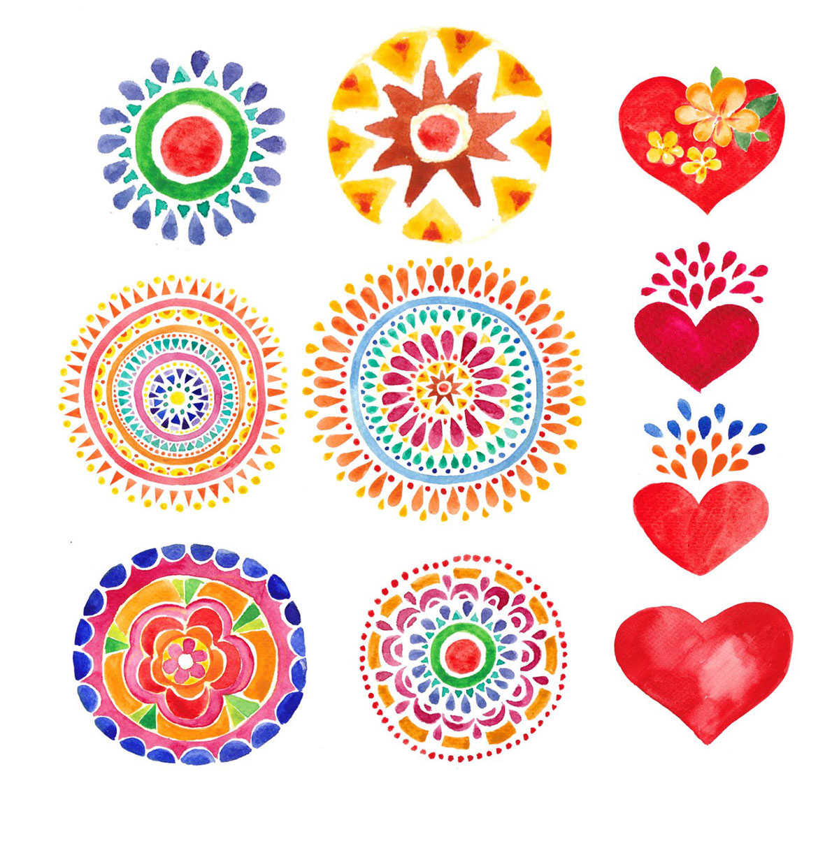 watercolor hearts temporary tattoos mandalas