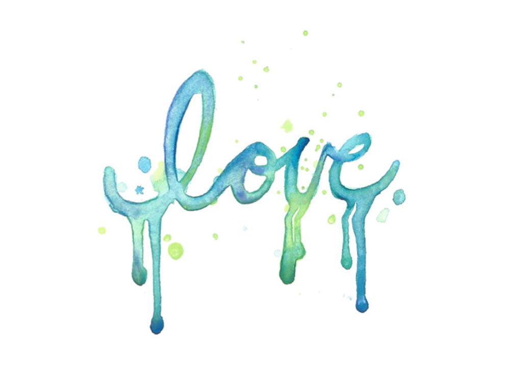 watercolor temporary tattoo love lettering