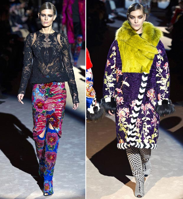 wear colorful embroideries Fall 2013 Tom Ford