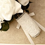 wedding bouquet lace wrap