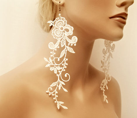 Wedding Earrings Exceptionally Beautiful Lace