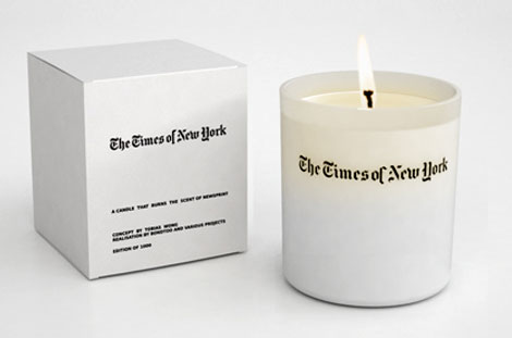 weird smelling candle newspaper
