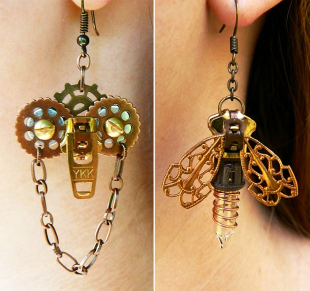 whimsical handmade earrings steampunk Pete and Veronica