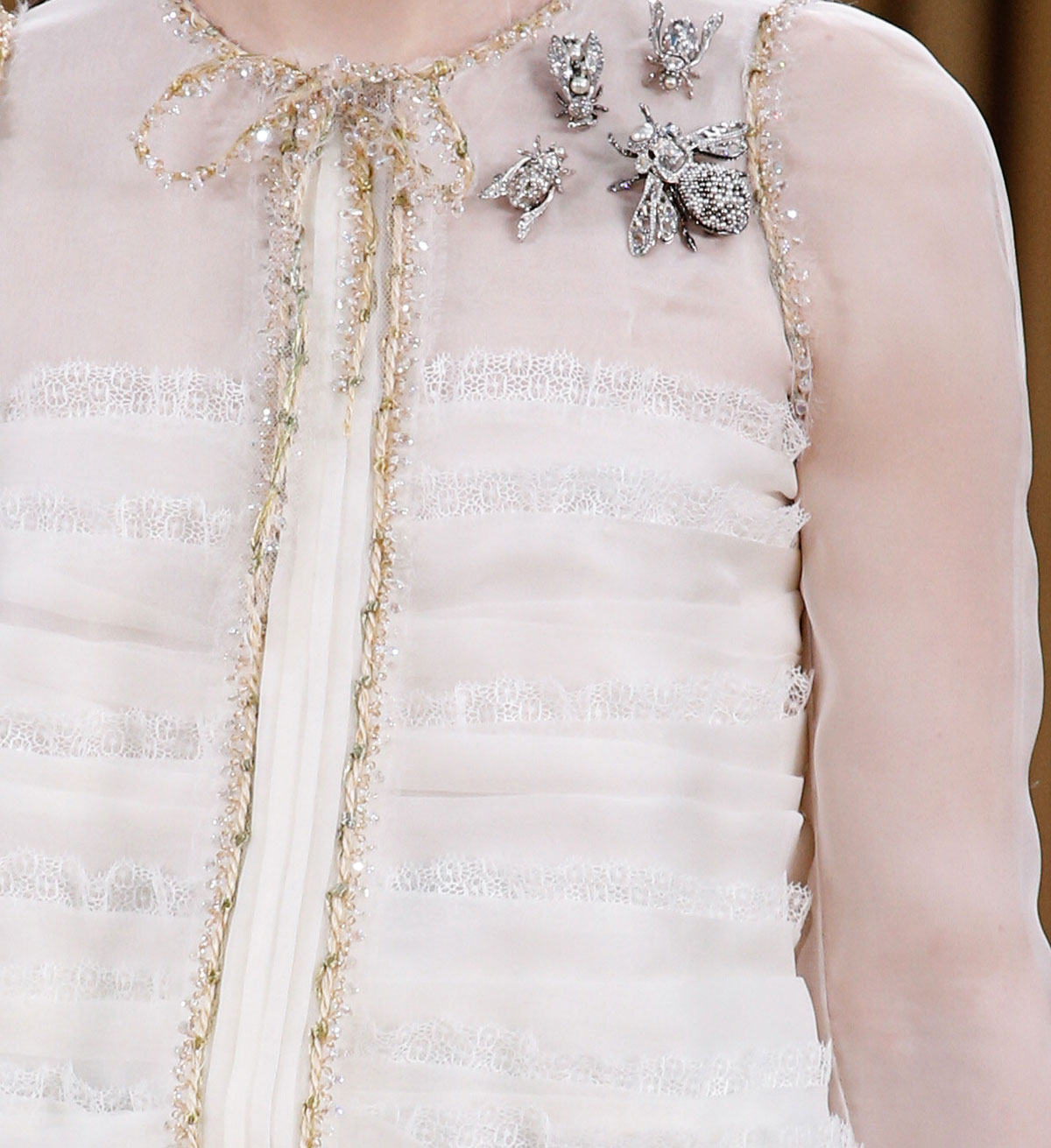 white blouse details Chanel Couture Spring 2016