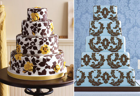 White Brown wedding cakes