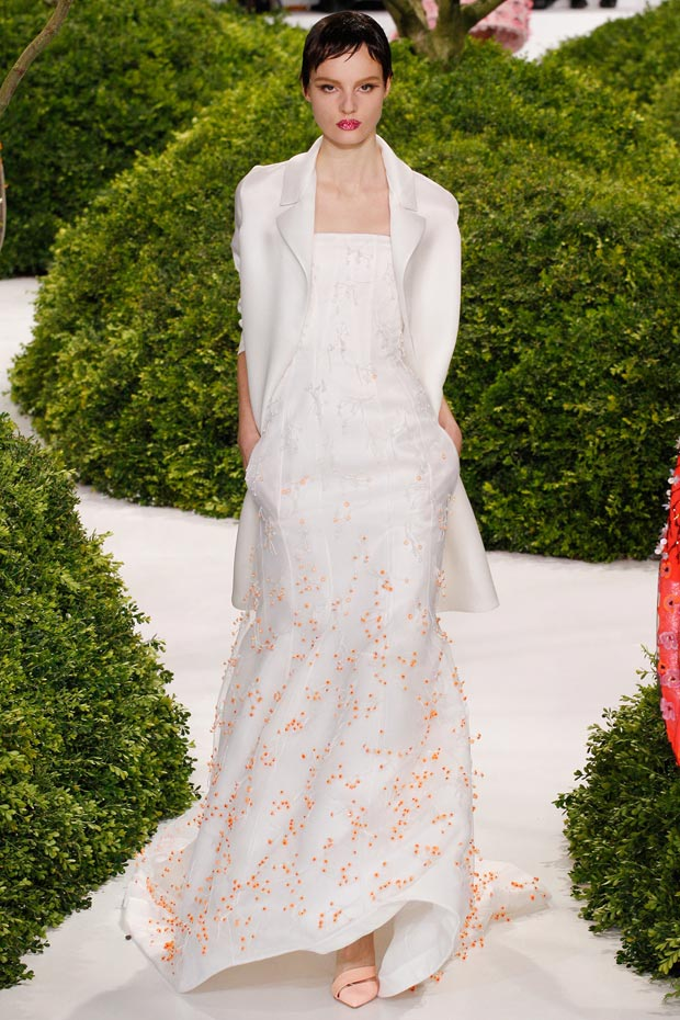 white flowers applique dress Dior Couture Spring 2013 collection