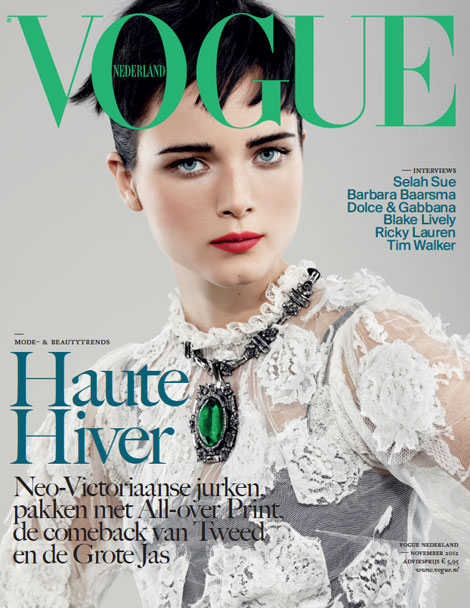 white lace Vogue Netherlands November 2012 cover