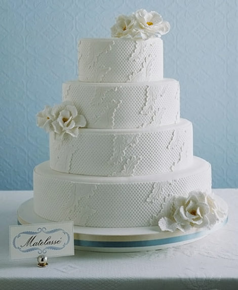 white matelasse wedding cake