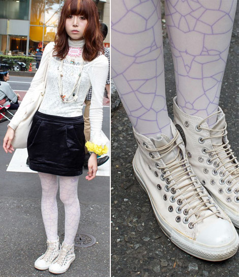 White patterned tights