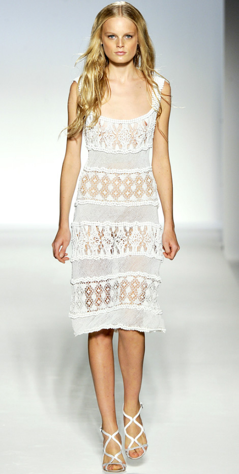 White Summer Dress With Crocheted Details. Alberta Ferretti SS 2012