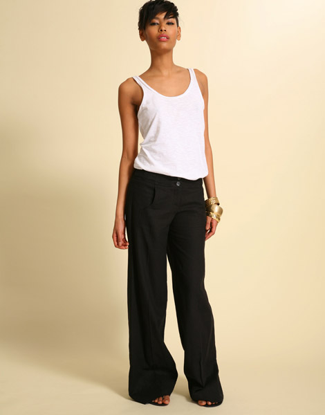 black linen wide leg pants - Pi Pants