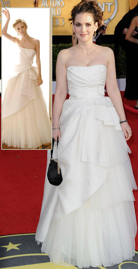 Winona Ryder white Alberta Ferretti dress 2011 SAG Awards