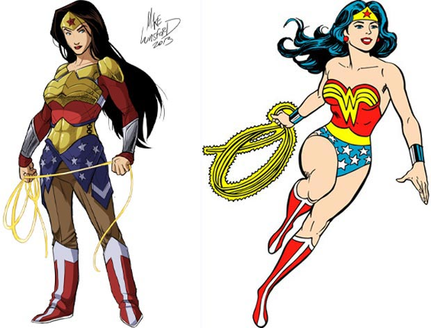 Wonder Woman classic suit vs modern suits