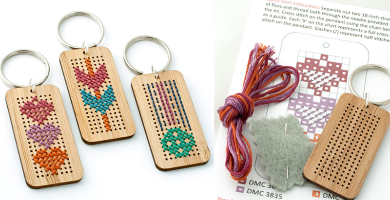 wood keychains Red Gate Stitchery