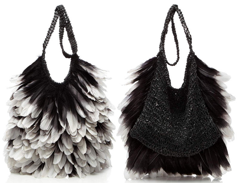 woven leather gradient feathers Tom Ford bag