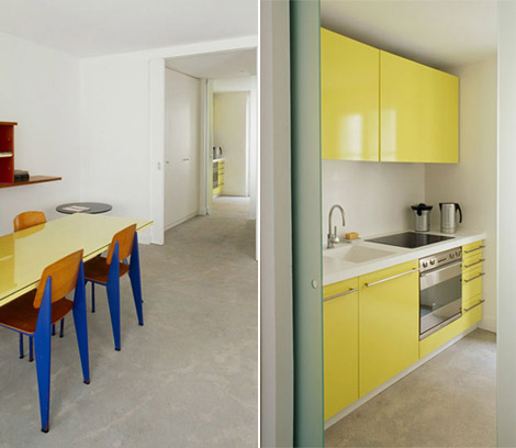 yellow glossy kitchen cabinets Azzedine Alaia 3 rooms hotel Paris