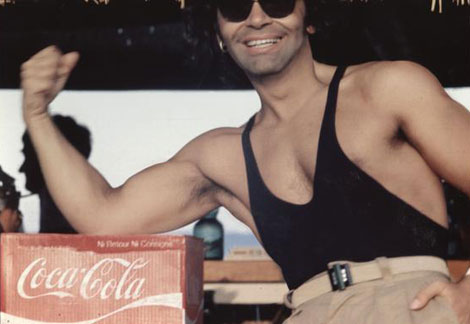 Young Karl Lagerfeld showing some skin