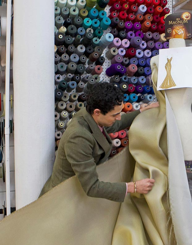 Zac Posen creating the dress for Magnum