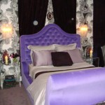 Zac Posen designed interior duplex NYC purple master bed