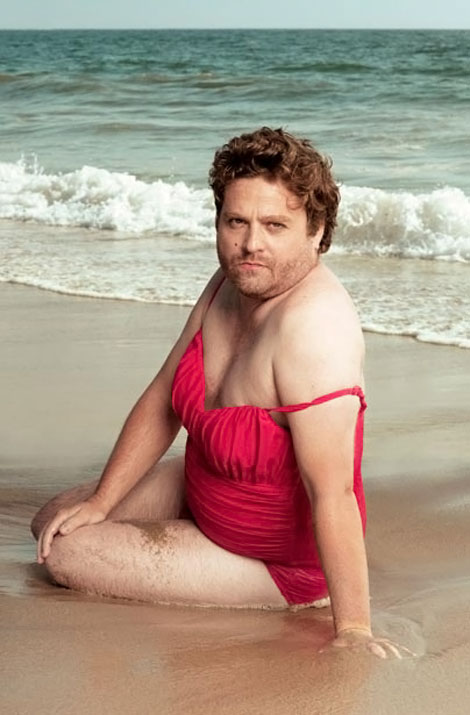 Zach Galifianakis VF Swimsuit calendar red swimsuit