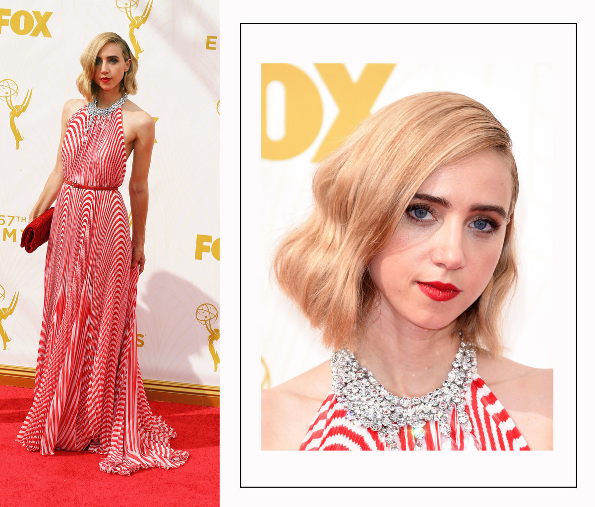 Zoe Kazan 2015 Emmy Awards Red Carpet hairstyle