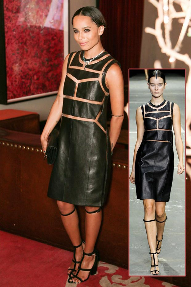 Zoe Kravitz Jewelry launch leather dress Alexander Wang