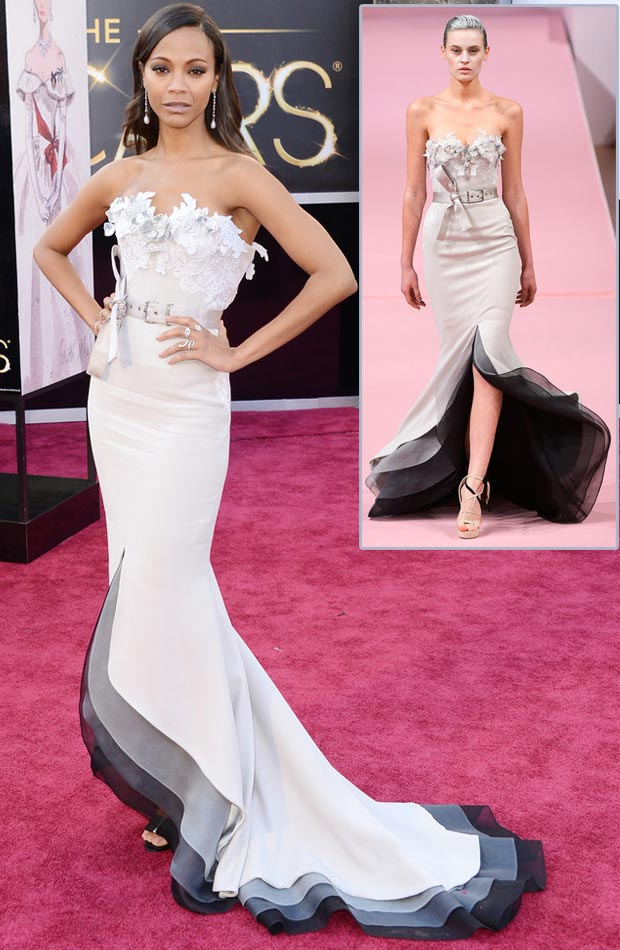 Zoe Saldana Alexis Mabille dress Oscars 2013 Red Carpet