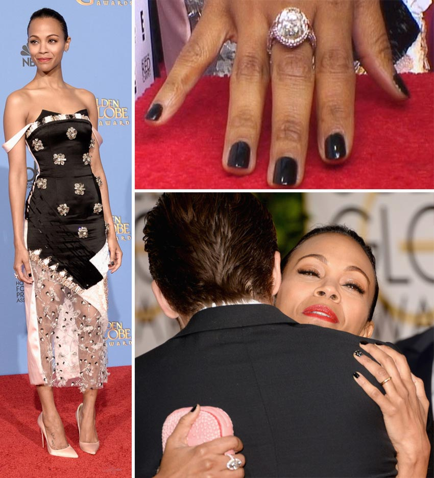 Zoe Saldana black nails 2014 Golden Globes