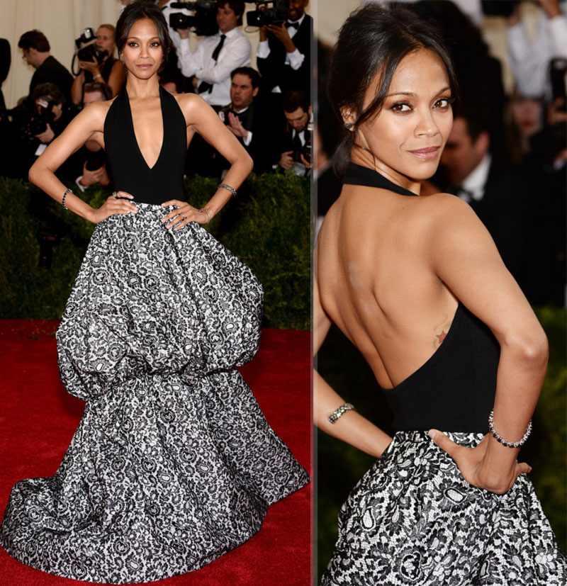 Zoe Saldana black white dress Michael Kors 2014 Met Gala