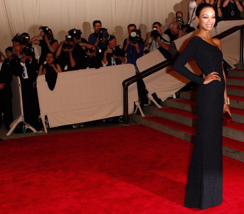 Zoe Saldana Blue Calvin Klein dress Met Gala 2010 1