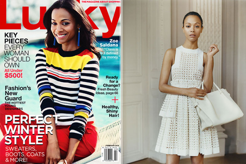 Zoe Saldana covers Lucky Netaporter The Edit