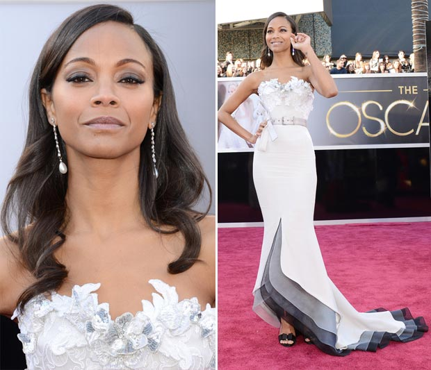 Zoe Saldana dress jewelry Oscars 2013 Red Carpet