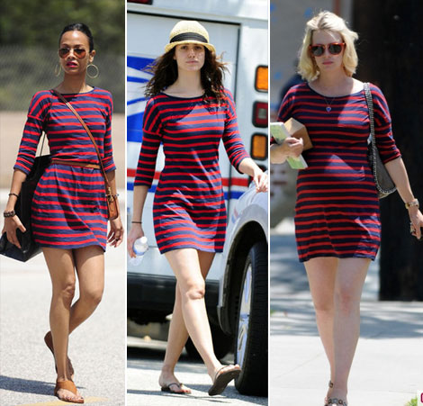 Zoe Saldana Emmy Rossum January Jones striped mini dress